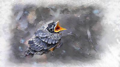Digital Art - Baby Robin by Lisa Redfern
