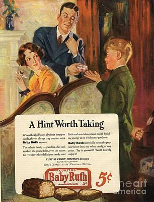 Drawing - Baby Ruth 1927 1920s Usa Chocolate by The Advertising Archives