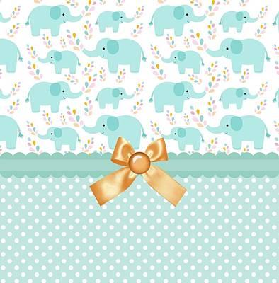 Shower Digital Art - Baby Safari Green Elephants by Debra  Miller