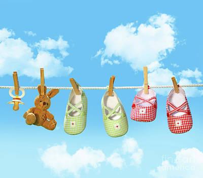 Photograph - Baby Shoes And Teddy Bear On Clothline by Sandra Cunningham