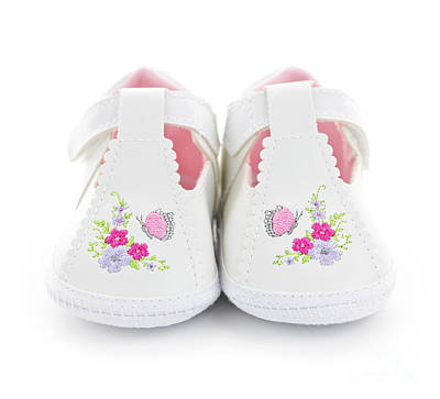 Embroidered Photograph - Baby Shoes by Elena Elisseeva