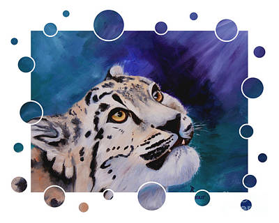 Painting - Baby Snow Leopard Bubbles by Brenda Thour