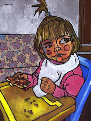 Baby With Pizza Art Print by Douglas Simonson