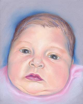 Pastel - Baby With Wide Eyes And Chubby Cheeks by MM Anderson