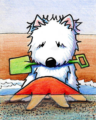 White Terrier Drawing - Baby You're A Star With White Border by Kim Niles