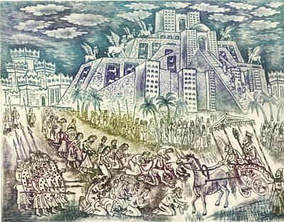 Tower Of Babel Drawing - Babylonian Captivity Of The Jews by Milen Litchkov