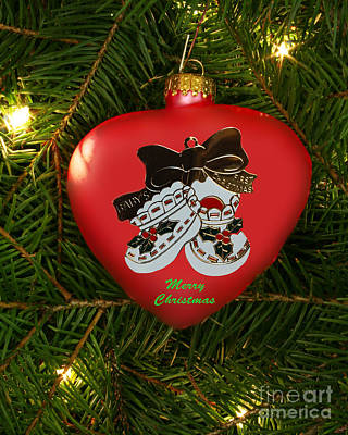 Baby's 1st Christmas Heart Ornament Art Print by Linda Rae Cuthbertson