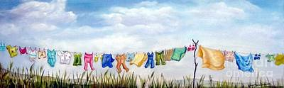 Painting - Baby's Clothesline by Anna-maria Dickinson