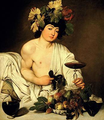 Wine-bottle Painting - Bacchus 1595 by Caravaggio