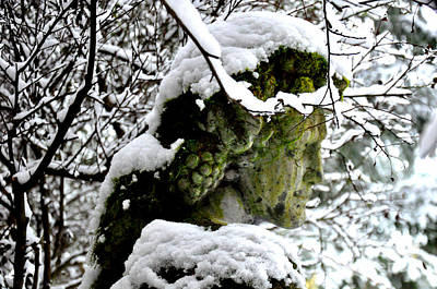 Bacchus Statue Under Snow Art Print