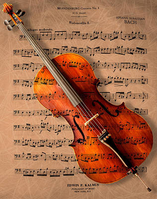 Instrument Photograph - Bach On Cello by Sheryl Cox