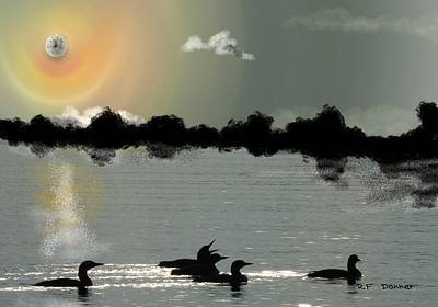 Bachelor Loons Under The Halo Moon Art Print by Bob Donner