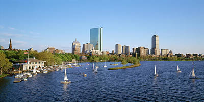 Back Bay And Charles River Boathouse Art Print by Panoramic Images