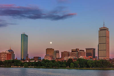 Airplane Paintings - Back Bay Summer Moon by Sylvia J Zarco