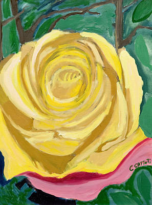 Painting - Back Bay Yellow Rose by Carmela Cattuti