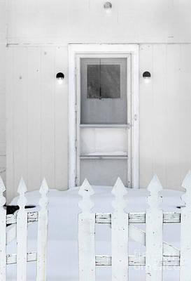 Back Door In Winter Art Print by Jill Battaglia