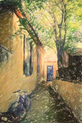 Impressionism Drawings - Back door by Zapista Zapista