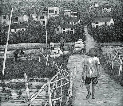 Drawing - Back From The Fields, China, 2012, (etching/aquatint) by Jane Peart