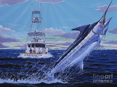 Blue Marlin Painting - Back Her Down Off00126 by Carey Chen