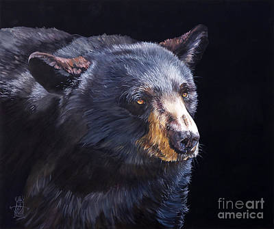 Spiritual Painting - Back In Black Bear by J W Baker
