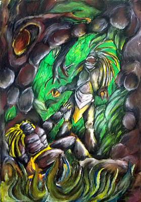 Green Monster Drawing - Back In Time Tiempo Atras by Lazaro Hurtado