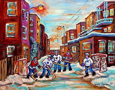 Painting - Back Lane Hockey Practice Pointe St.charles Montreal City Winter Scene Painting Carole Spandau by Carole Spandau
