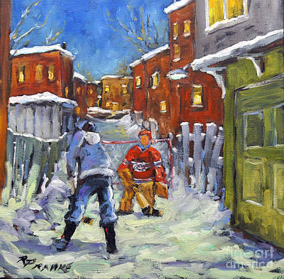 Montreal Street Life Painting - Back Lane Hockey Shoot Out By Prankearts by Richard T Pranke