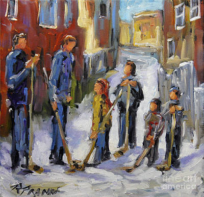 Montreal Street Life Painting - Back Lane Hockey The Stand Off By Prankearts by Richard T Pranke
