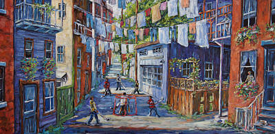 Canadian Artist Painter Painting - Back Lanes Hockey Champs By Prankearts by Richard T Pranke