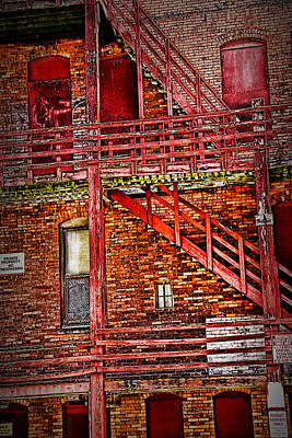 Photograph - Back Of A Red Building With Fire Escape No.0214 by Randall Nyhof