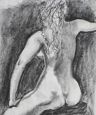 Drawing - Back Of A Seated Woman by Asha Carolyn Young