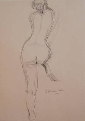 Drawing - Back Of Nude With Foot Up by Esther Newman-Cohen