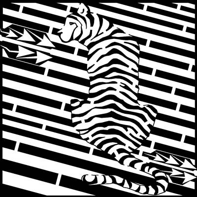Optical Illusion Maze Digital Art - Back Of The Tiger Maze by Yonatan Frimer Maze Artist