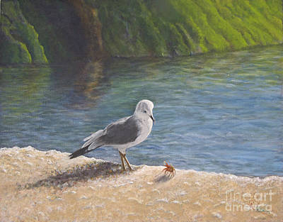 Seagulls Painting - Back Off by Cindy Lee Longhini