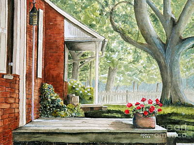 Back Porch Geraniums Art Print by John W Walker