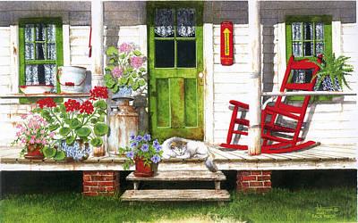 Back Porch Art Print by Larry Johnson