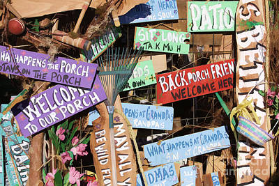 Photograph - Back Porch Signs by Audreen Gieger