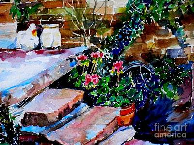 Back Porch Painting - Back Porch Steps by Janet Peters