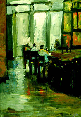 James Earl Ray Painting - Back Street Grill Green Tint by Anna Sandhu Ray