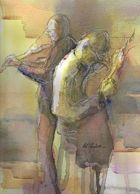 Mandolin Painting - Back To Back  by Robert Yonke