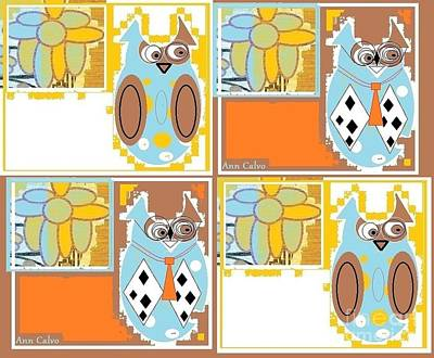 Art Print featuring the digital art Back To School Owl by Ann Calvo