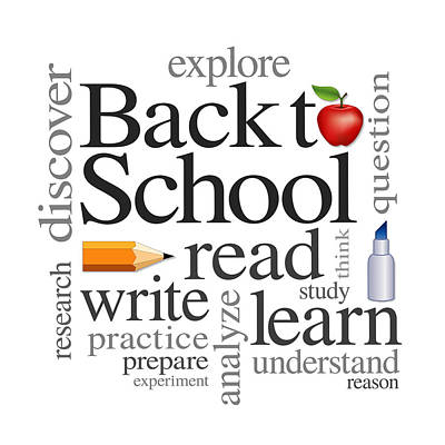 Isolated On Black Background Digital Art - Back To School Word Cloud by J M Designs