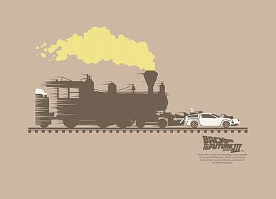 Fox Digital Art - Back To The Future IIi - Pushing The Delorean by Brand A