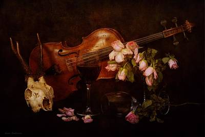 Back To The Past- Still Life With Violin Art Print by Guna  Andersone