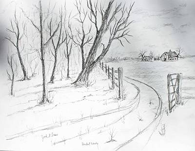Drawing - Back Twenty Acres by Jack G  Brauer