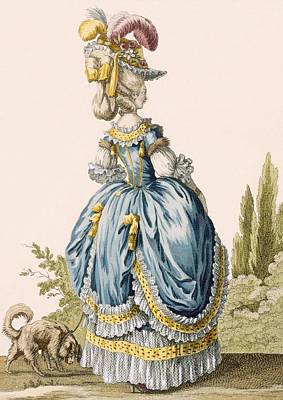 Back View Of A Ladys Gown, Engraved Art Print by Claude Louis Desrais