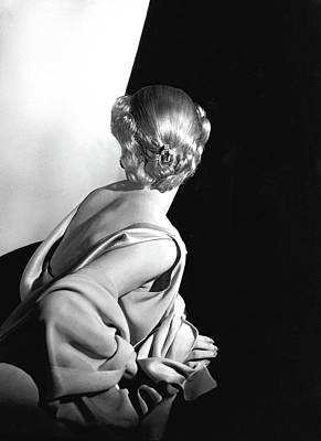 Hair Jewelry Photograph - Back View Of A Model Wearing A Sleeveless Dress by Horst P. Horst