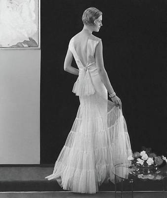 Back View Of A Model Wearing An Evening Gown Art Print