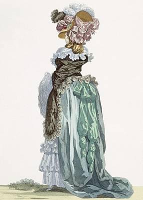 Back View Of A Promenade Gown, Engraved Art Print by Francois Louis Joseph Watteau
