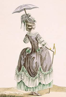 Royal Court Drawing - Back View Of Ladys Grey Promenade by Pierre Thomas Le Clerc